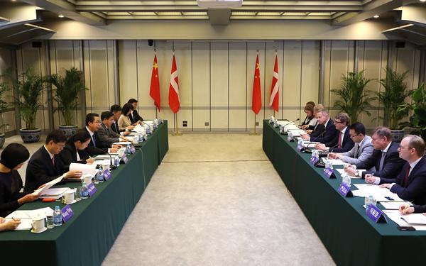 申长雨在京会见丹麦商业和经济增长大臣一行